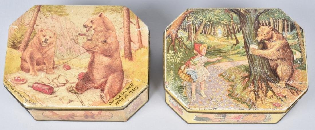 2 BISQUIT TINS with BEAR GRAPHICS