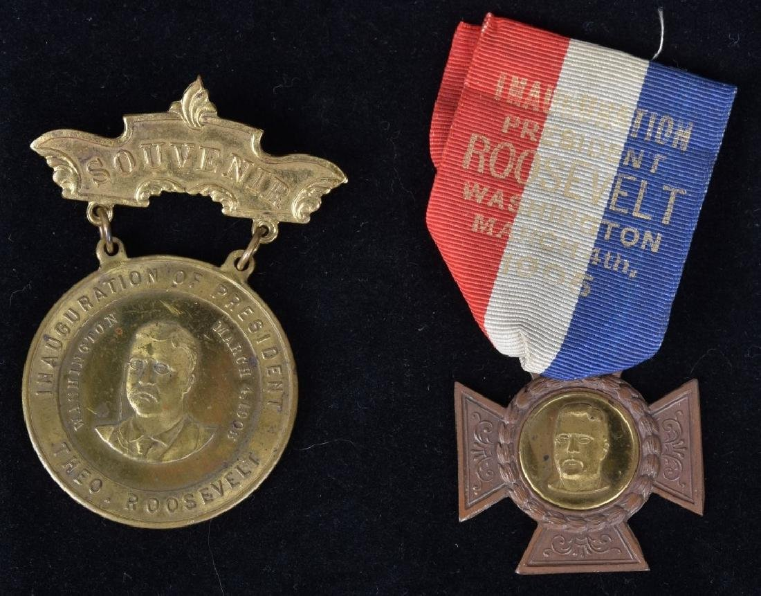 2-TEDDY ROOSEVELT 1905 INAUGURATION MEDALS