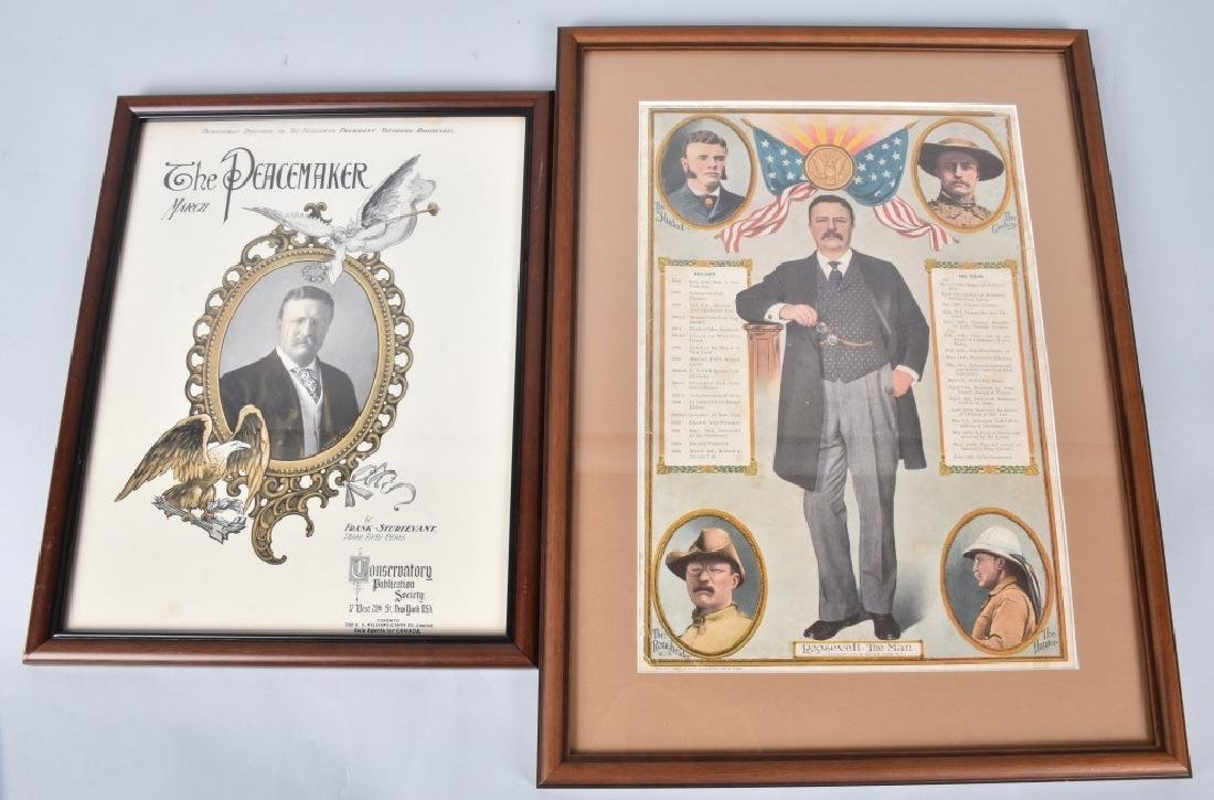 2-TEDDY ROOSEVELT FRAMED ITEMS