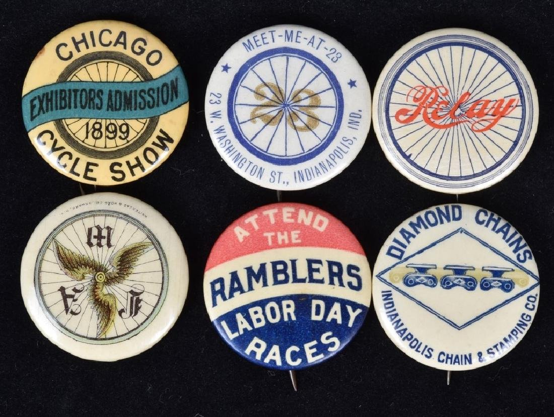 6-EARLY BICYCLE PINBACK BUTTONS