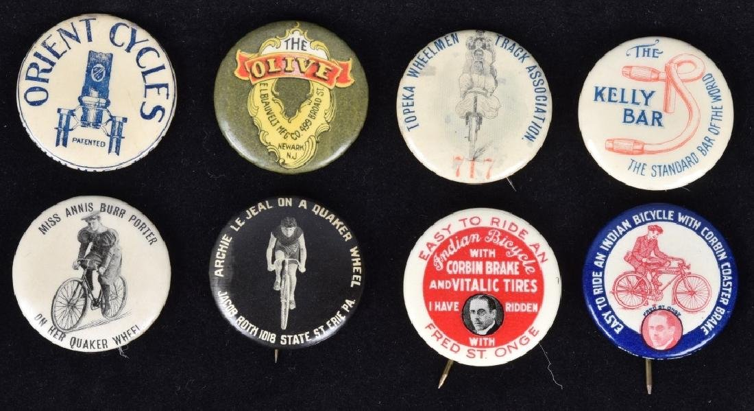 8-EARLY BICYCLE PINBACK BUTTONS