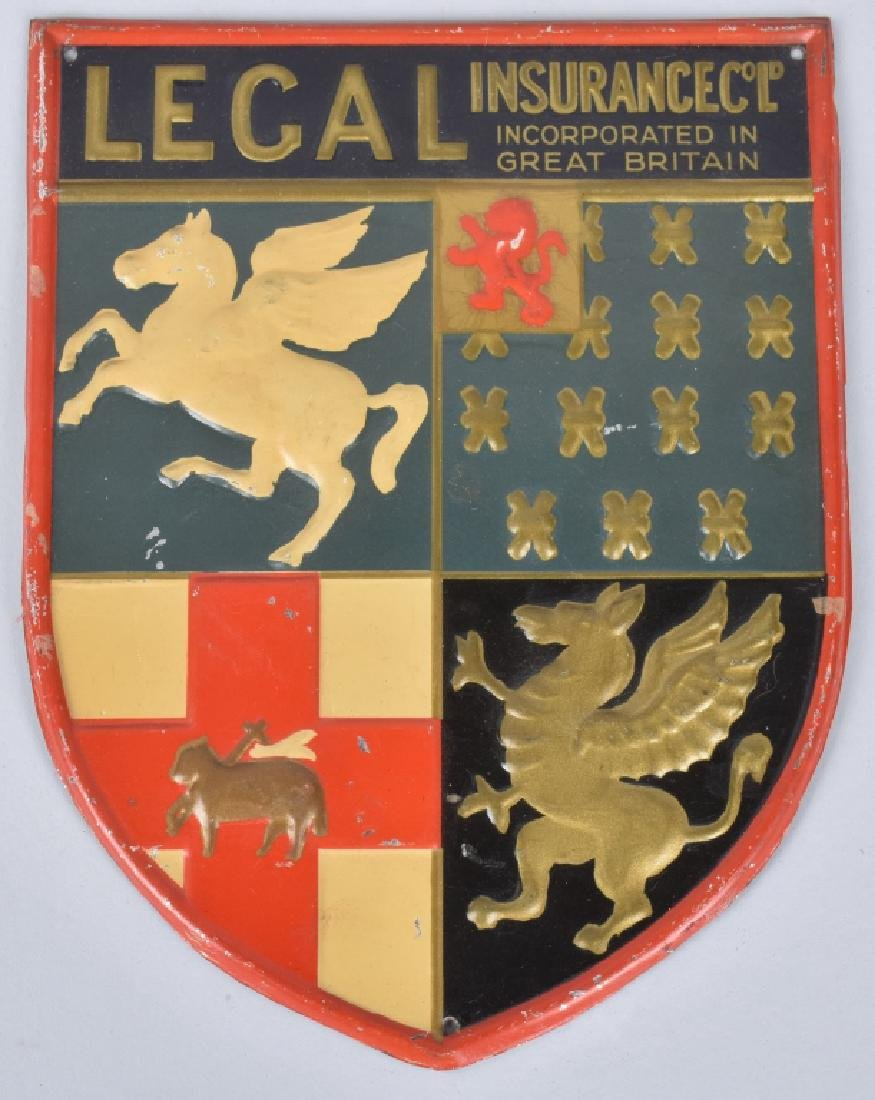 LEGAL INSURANCE COAT OF ARMS TIN SIGN