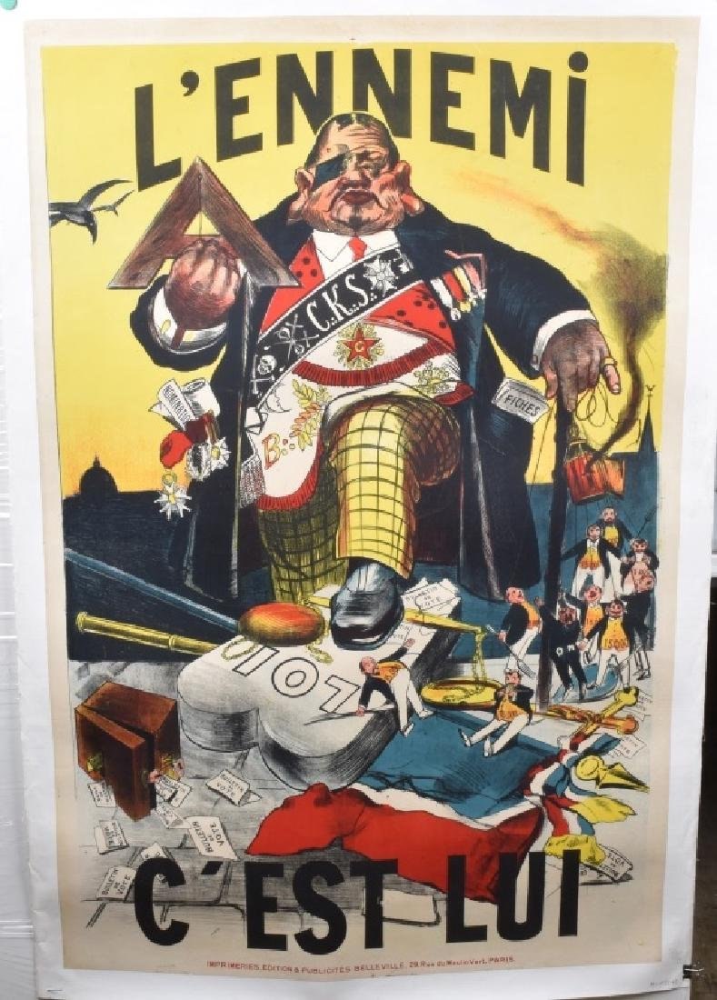 """Early """"THE ENEMY IS HIM"""" FRENCH POLITICAL POSTER"""