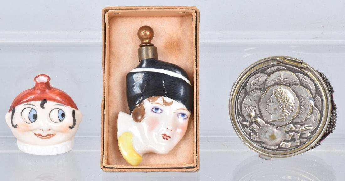 2 FIGURAL PERFUMES & COIN PURSE