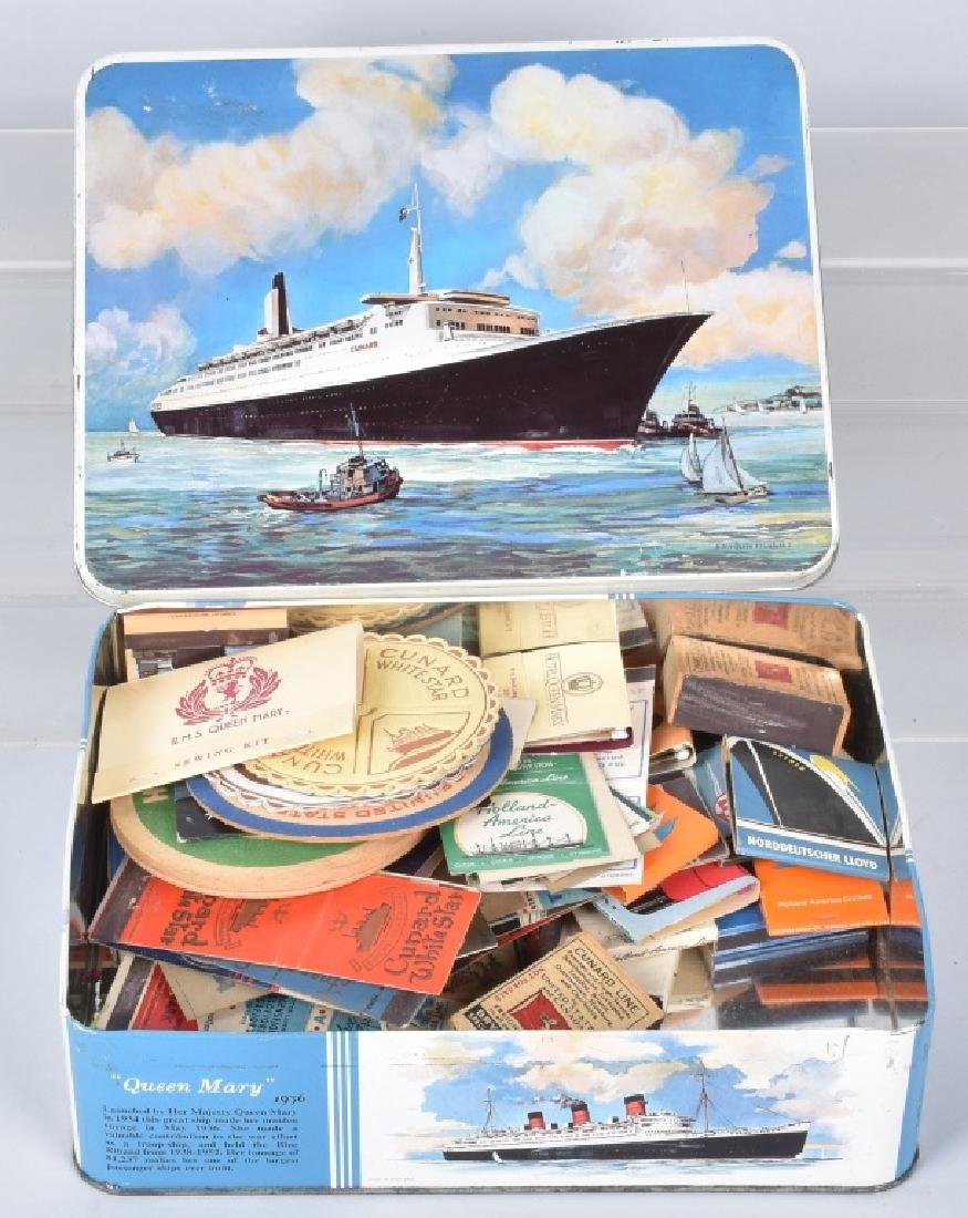QUEEN MARY TIN BOX w/ OCEANLINER ITEMS