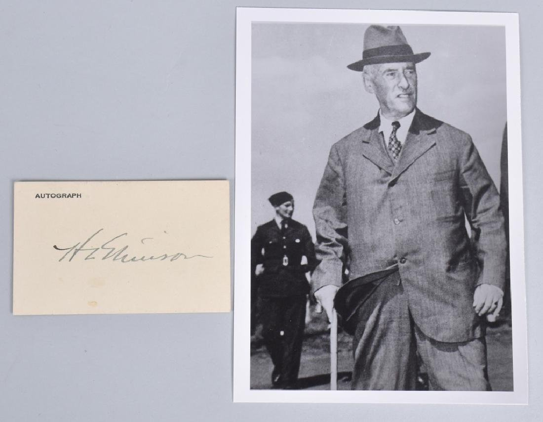 HENRY STIMSON, AMERICAN STATESMAN AUTOGRAPH