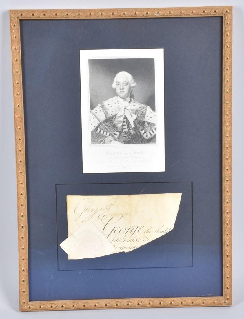 18th CENTURY KING GEORGE III, SIGNATURE