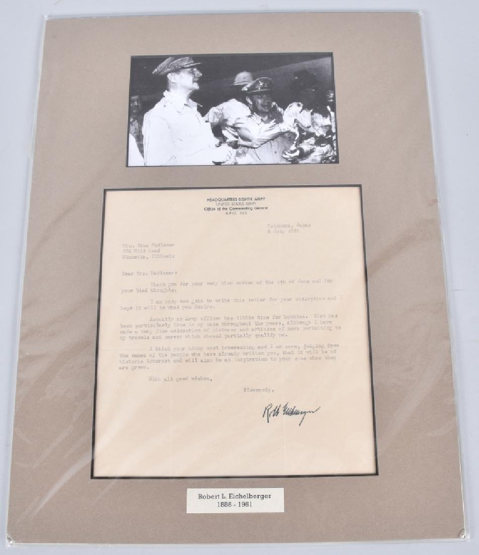 WW2 GENERAL ROBERT EICHELBERGER, SIGNED LETTER