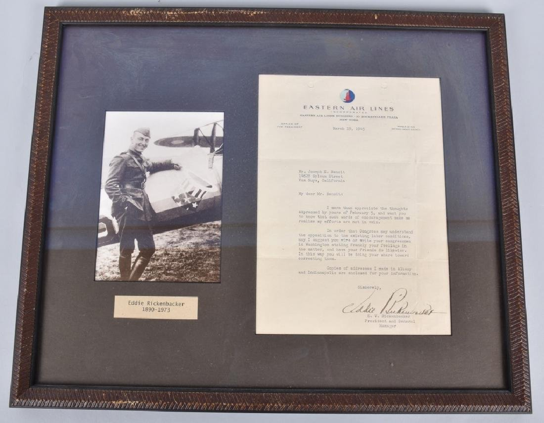 CAPTAIN EDDIE RICKENBACKER, SIGNED LETTER