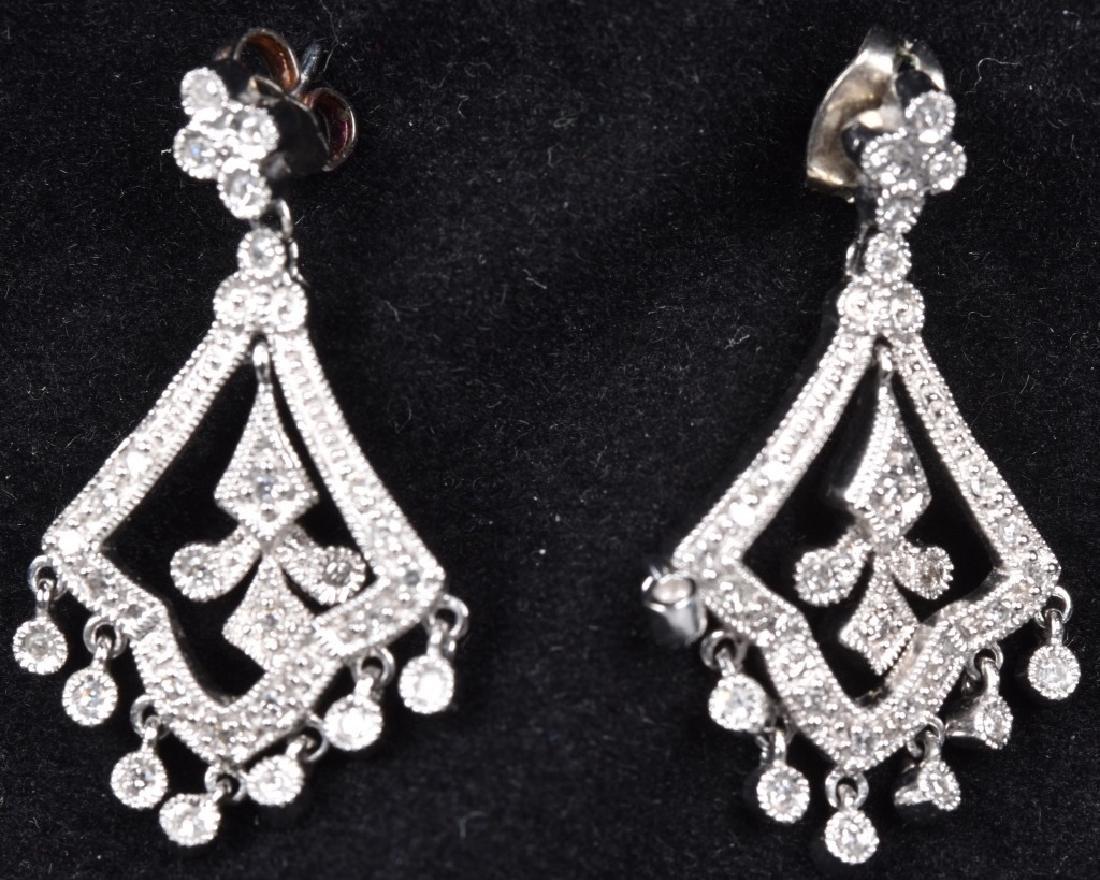 14kt WHITE GOLD & DIAMOND DANGLE DROP EARRINGS