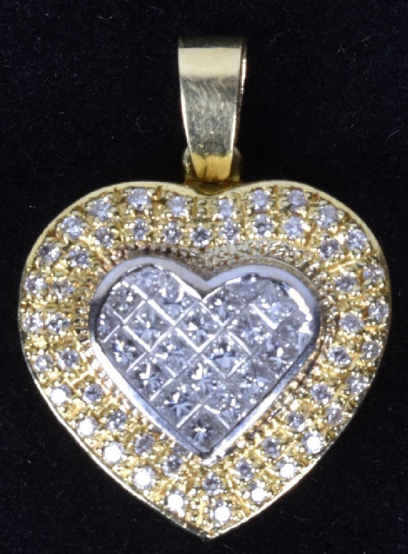 18kt GOLD & DIAMONDS INVISIBLE SET HEART PENDANT
