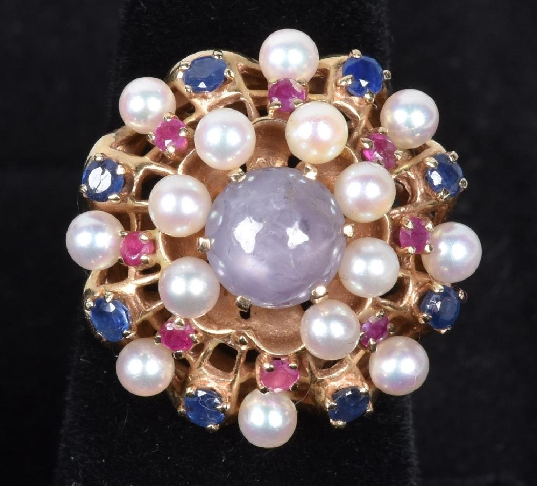 14kt GOLD STAR SAPPHIRE, RUBY, TOPAZ & PEARL RING
