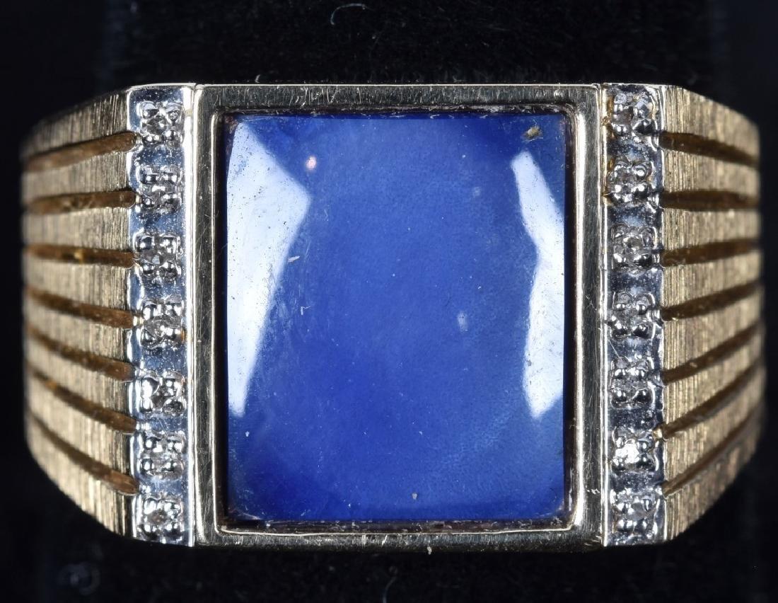 14kt GOLD MENS BLUE SAPPHIRE RING
