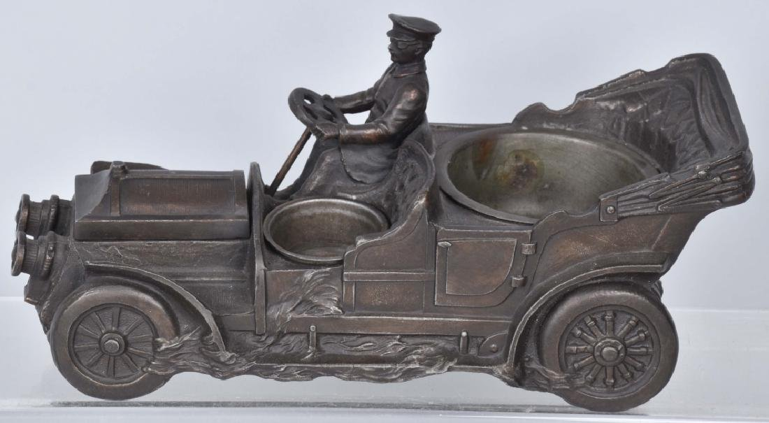 EARLY SPELTER AUTOMOBILE CIGARETTE CADDY