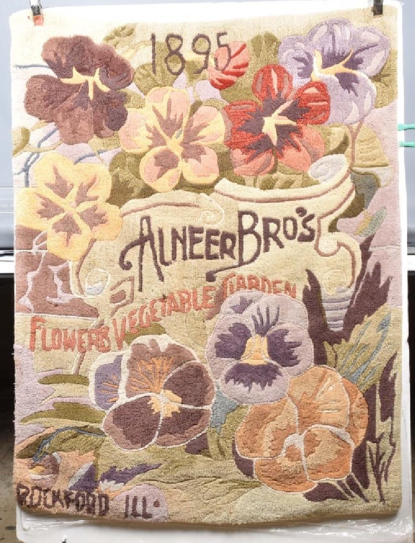 1895 ALNEERS BROS. SEEDS ADVERTISING RUG