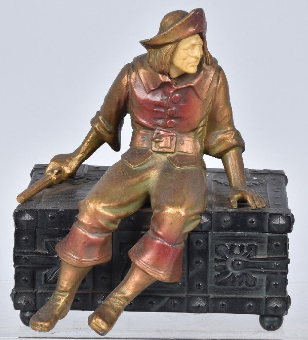 VINTAGE PIRATE ON CHEST MUSIC BOX