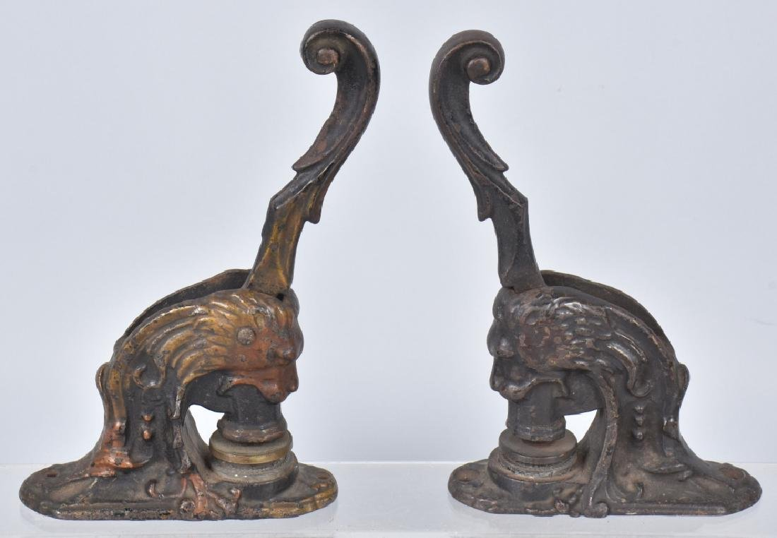 2- CAST IRON FIGURAL LION HEAD SEAL STAMPERS