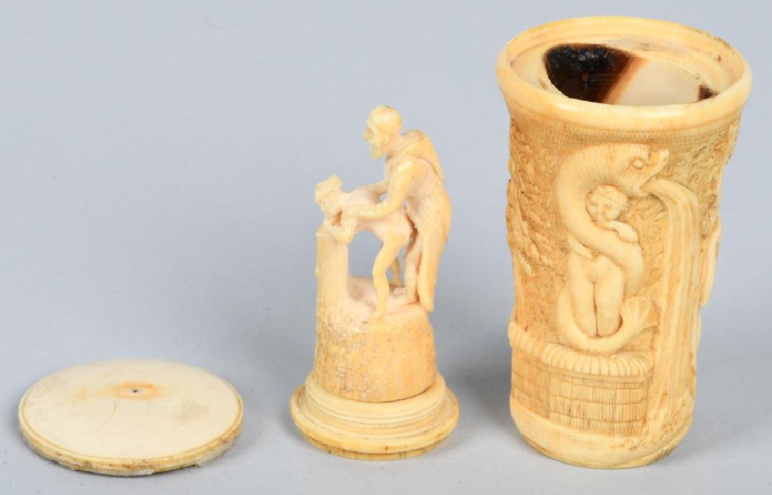 CARVED BONE SUSANNAH & ELDERS CANE HANDLE - 4