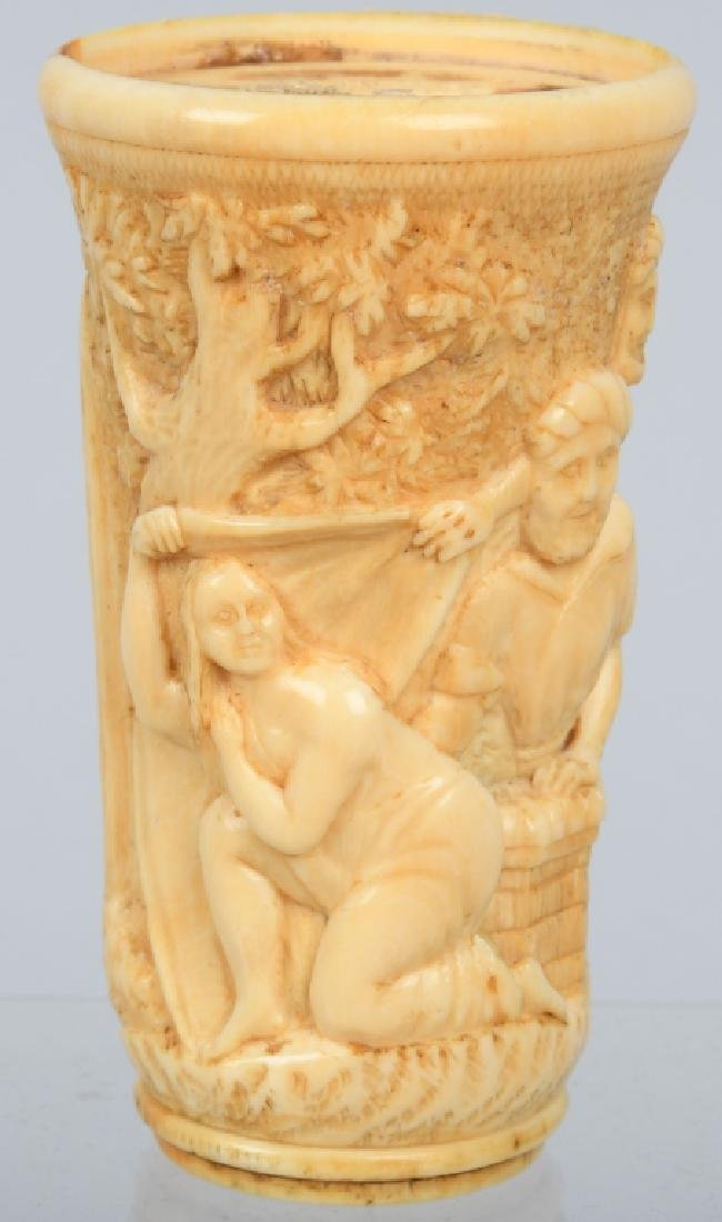 CARVED BONE SUSANNAH & ELDERS CANE HANDLE - 6