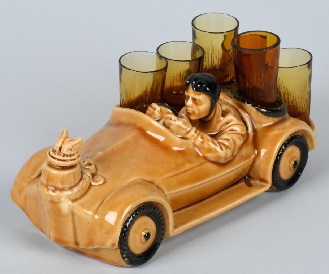VINTAGE RACE CAR DECANTER w/ SHOT GLASSES