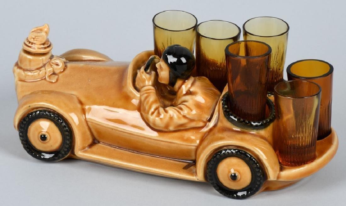 VINTAGE RACE CAR DECANTER w/ SHOT GLASSES - 2