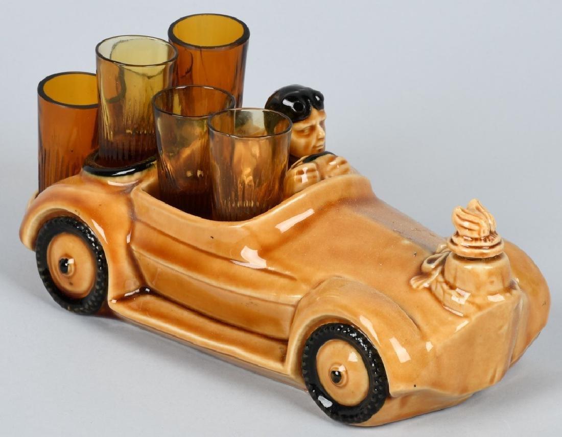 VINTAGE RACE CAR DECANTER w/ SHOT GLASSES - 4