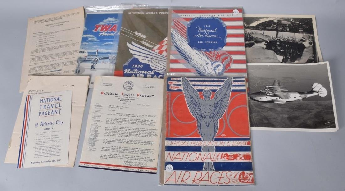 30s AIR RACE BOOKS, TWA , & OTHER AIRPLANE ITEMS