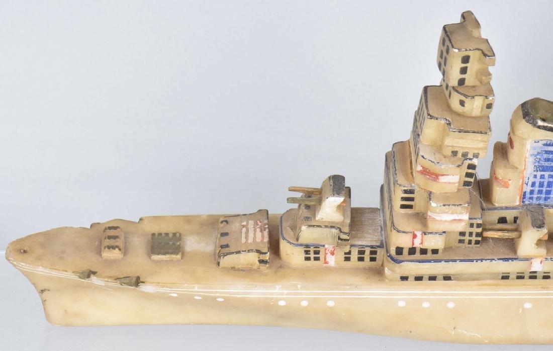 WW2 TRENCH ART BATTLESHIP MISSOURI CARVED STONE - 2