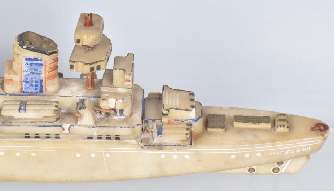WW2 TRENCH ART BATTLESHIP MISSOURI CARVED STONE - 4