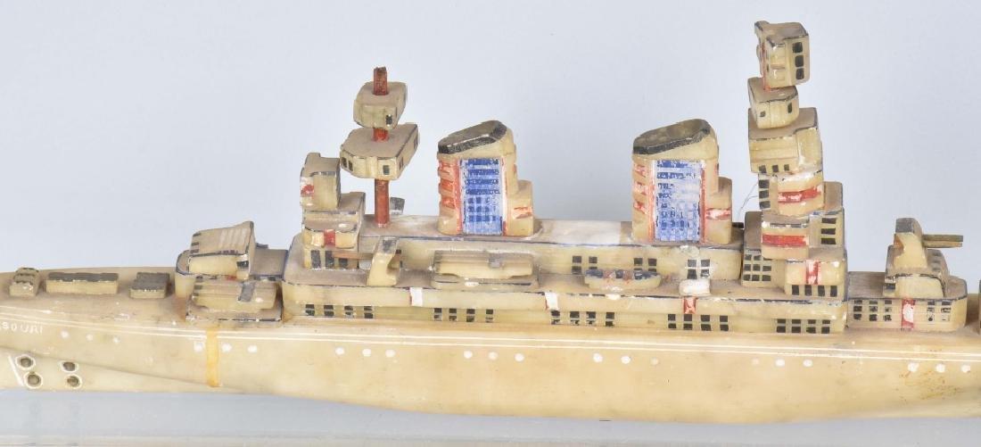 WW2 TRENCH ART BATTLESHIP MISSOURI CARVED STONE - 7