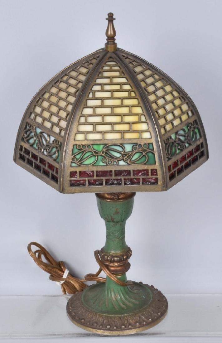 VINTAGE BRASS DESK LAMP w/ SLAG GLASS SHADE