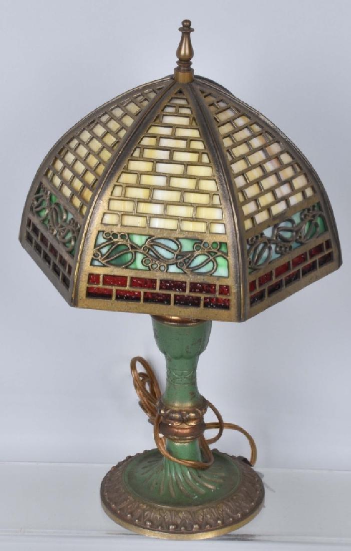 VINTAGE BRASS DESK LAMP w/ SLAG GLASS SHADE - 2