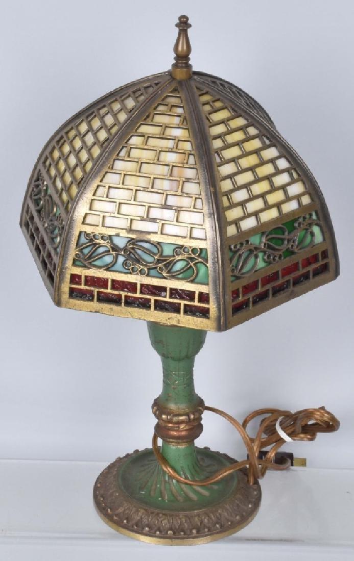 VINTAGE BRASS DESK LAMP w/ SLAG GLASS SHADE - 3
