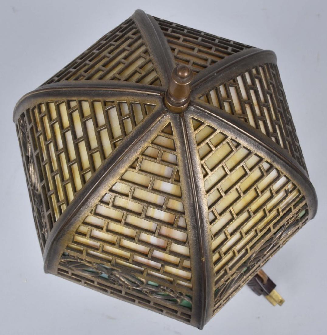 VINTAGE BRASS DESK LAMP w/ SLAG GLASS SHADE - 4