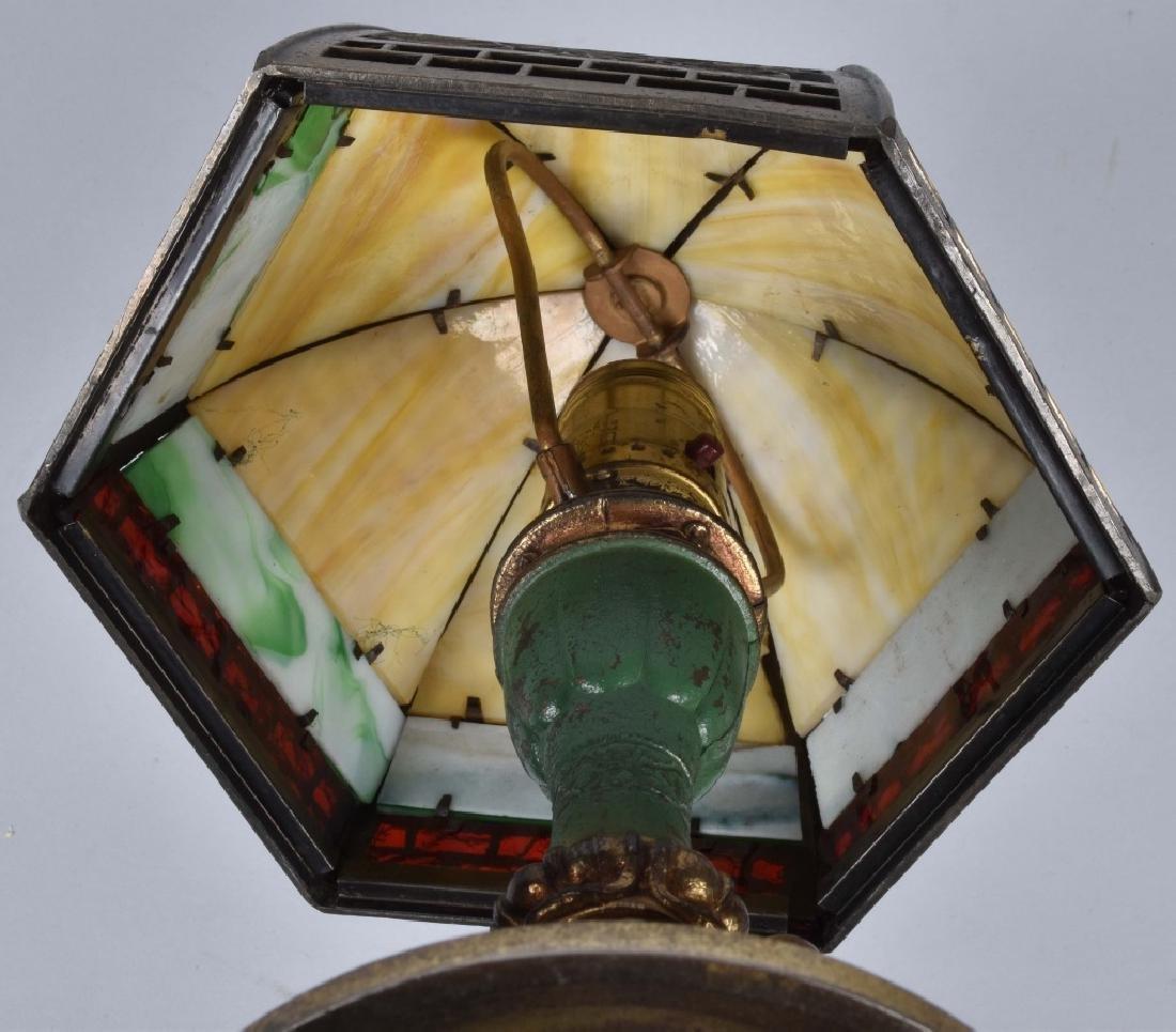 VINTAGE BRASS DESK LAMP w/ SLAG GLASS SHADE - 5