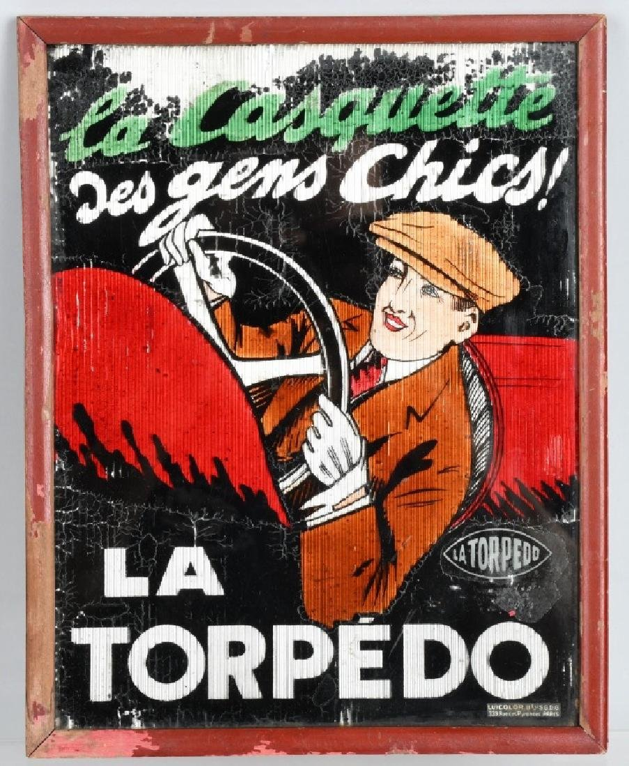 LA TORPEDO FRENCH ADVERTISING GLASS SIGN