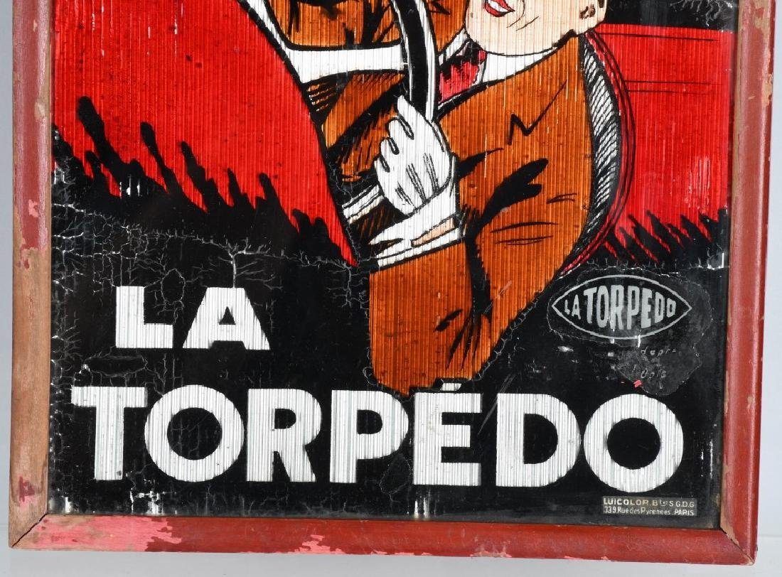 LA TORPEDO FRENCH ADVERTISING GLASS SIGN - 3