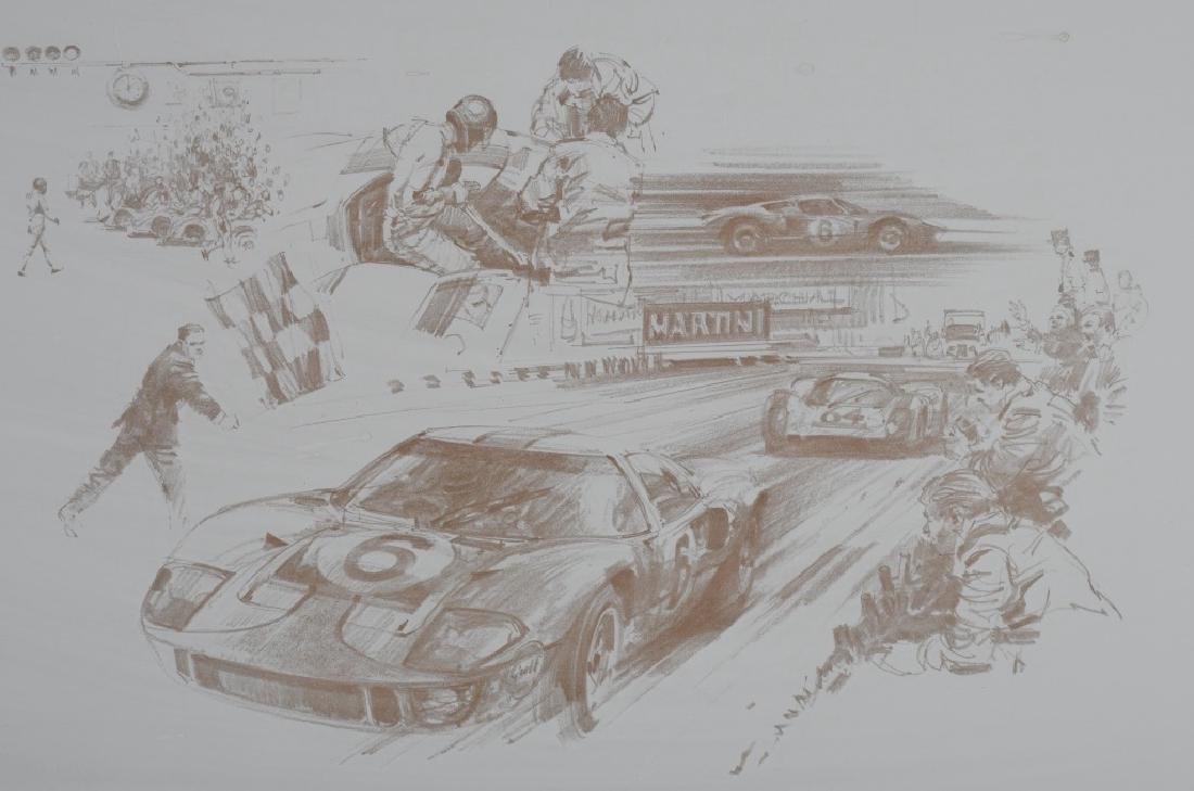 6- ORIGINAL RACING LITHO ART SHEETS