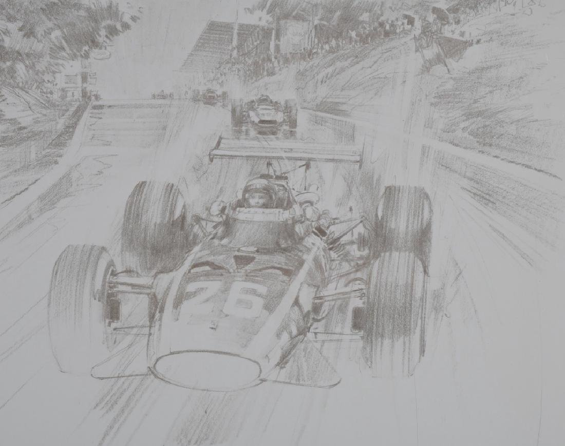 6- ORIGINAL RACING LITHO ART SHEETS - 6