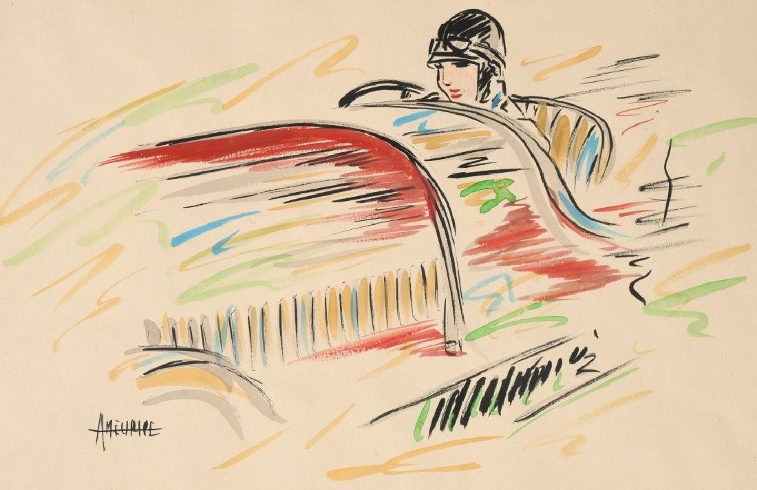 A MEURIEL EARLY RACE CAR PAINTING - 2