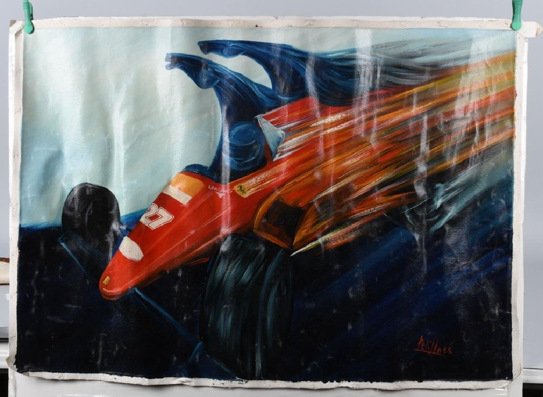 PELILLO FERRARI ROSSI RACE CAR OIL PAINTING