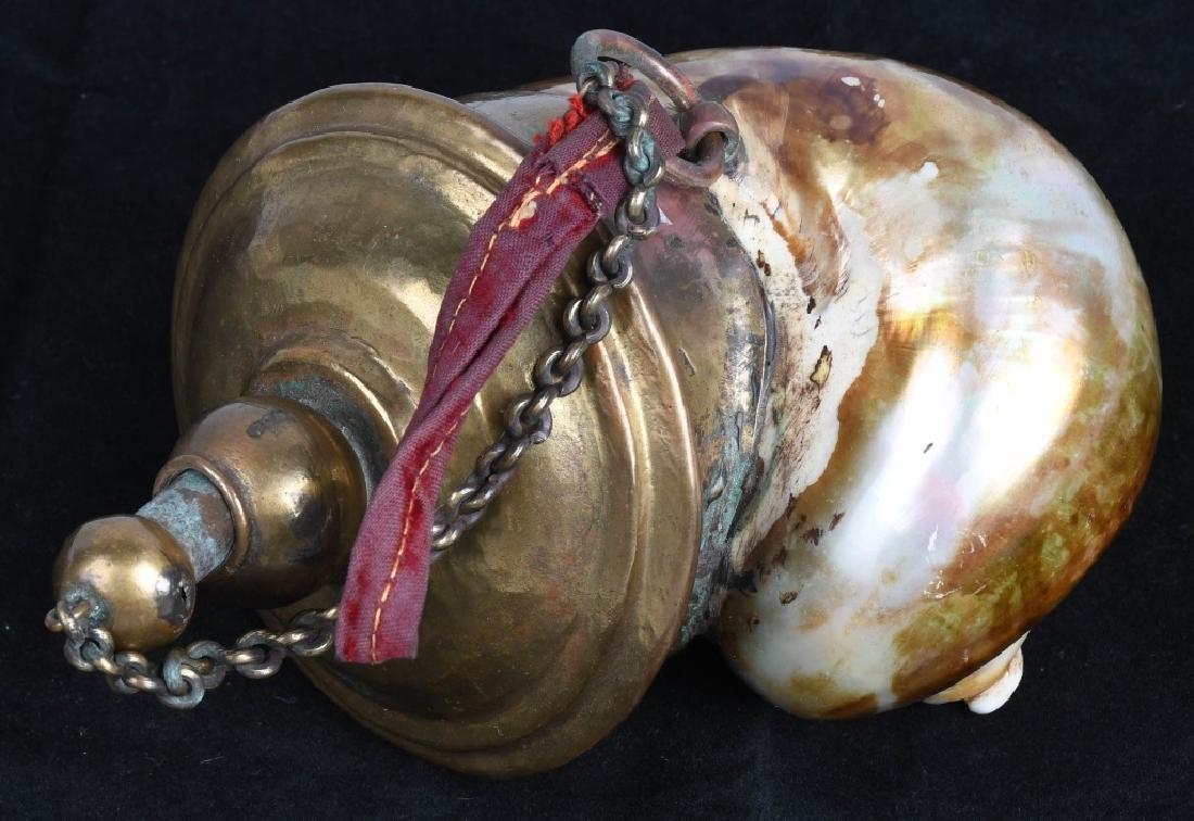 VINTAGE OIL LAMP MADE OF SEASHELL & BRASS - 3