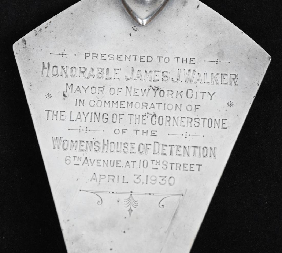 1930 NY MAYOR JAMES WALKER PRESENTATION TROWEL - 2
