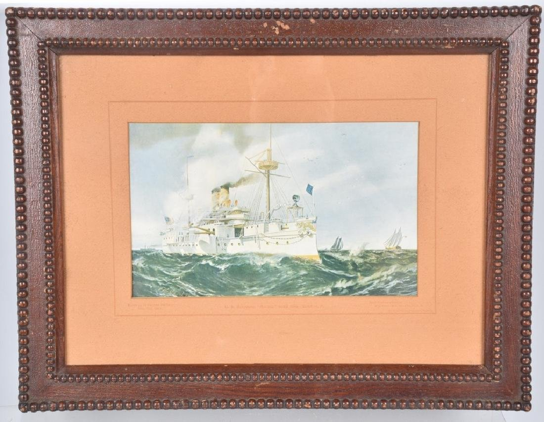 USS MAINE AT SEA LITHO By FN Atwood