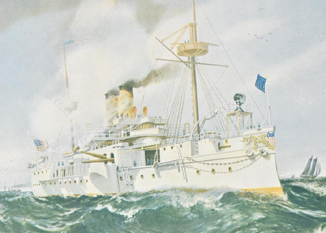 USS MAINE AT SEA LITHO By FN Atwood - 2