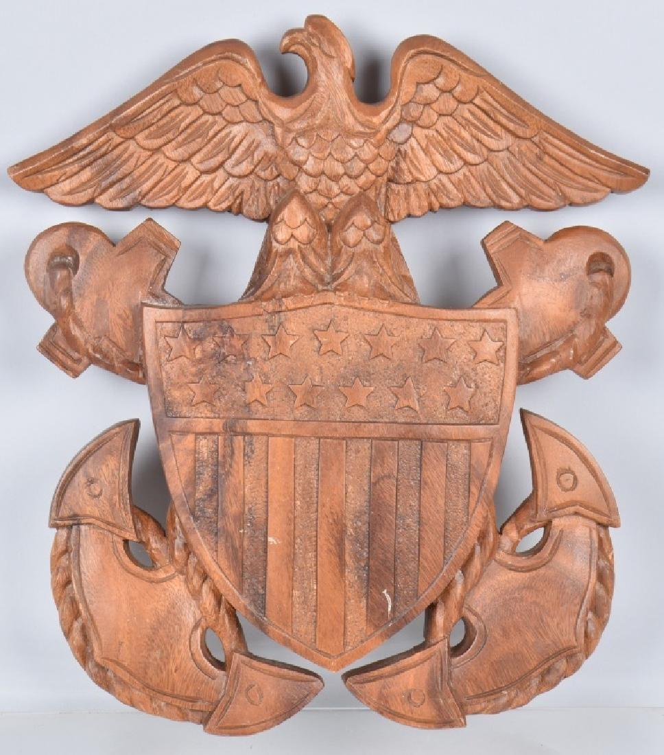 CARVED WOOD NAVY SYMBOL SUBIC BAY 1967
