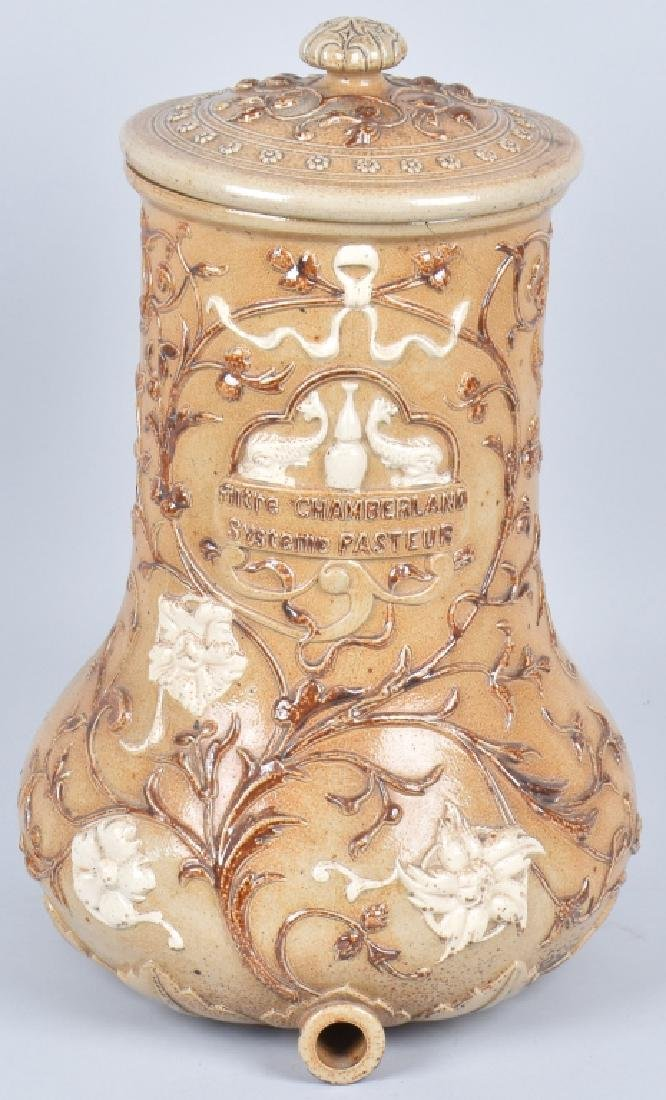 FRENCH HIGHLY DECORATED STONEWARE WATER CROCK
