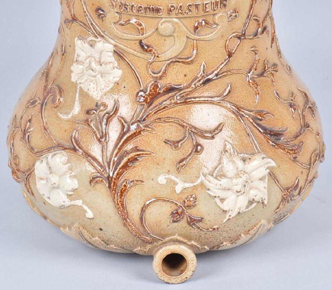FRENCH HIGHLY DECORATED STONEWARE WATER CROCK - 3