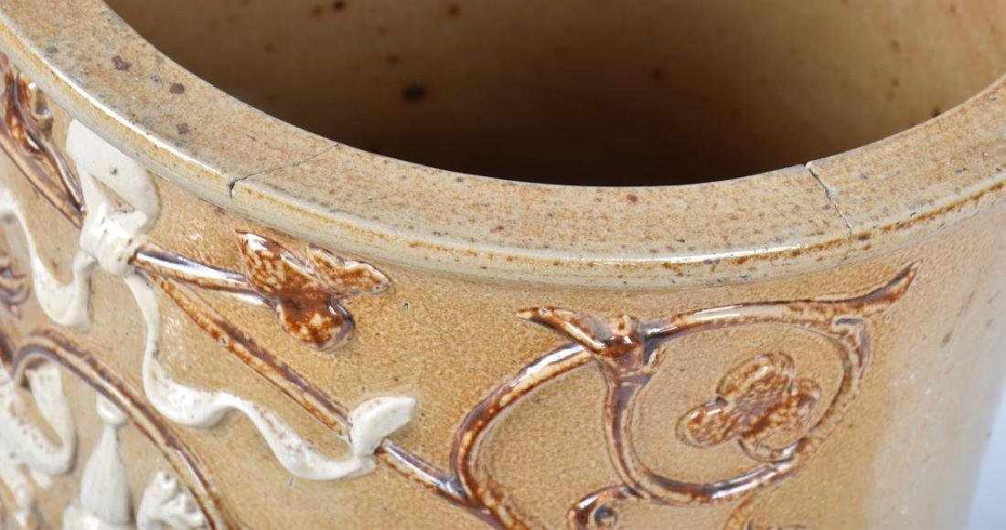 FRENCH HIGHLY DECORATED STONEWARE WATER CROCK - 7