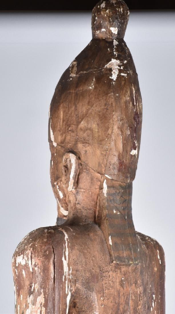 EGYPTIAN CARVED WOOD PLASTER COVERED SLAVE FIGURE - 11